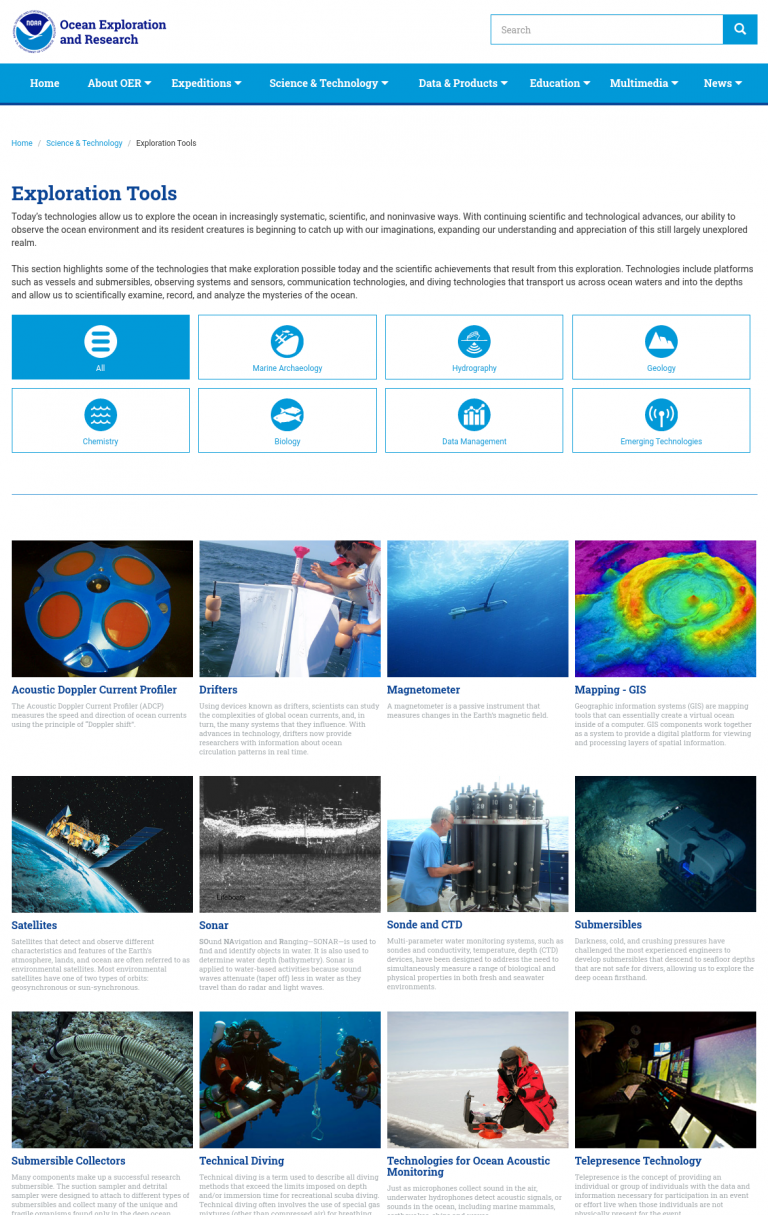 Exploration tools in Marine Research